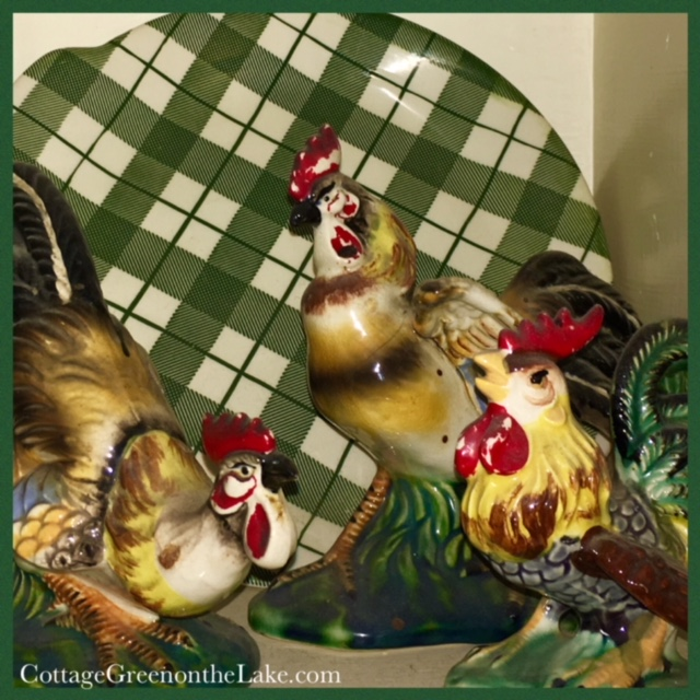 2 roosters and 1 hen