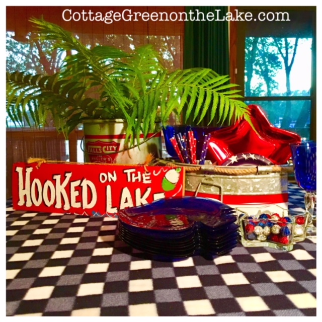 """Hooked on the Lake"" … a Red, White & Blue Tablescape"